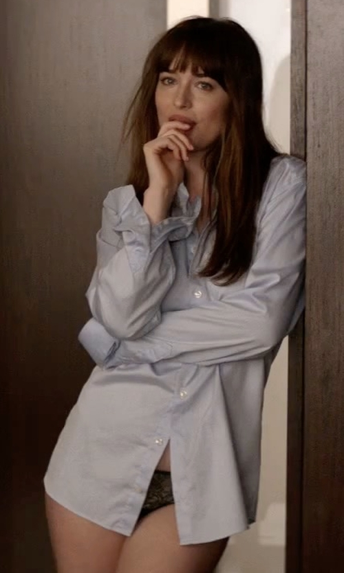 Dakota Johnson with Paul Smith Single-Cuff Pin-Dot Print Cotton Shirt in Fifty Shades Darker