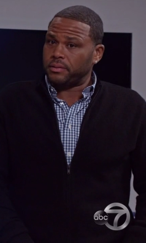 Anthony Anderson with Hamilton Gingham Check Oxford Dress Shirt in Black-ish