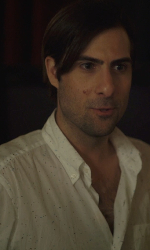 Jason Schwartzman with Zanerobe Eight Foot Dobby Button-Down Shirt in The Overnight