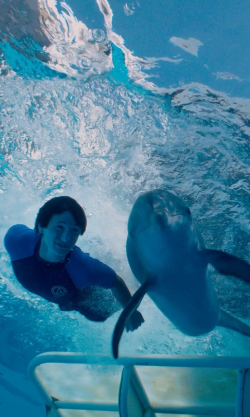 Nathan Gamble with Ocean Tec Custom Made Junior Short Sleeve Rashguard (Nathan Gamble) in Dolphin Tale 2