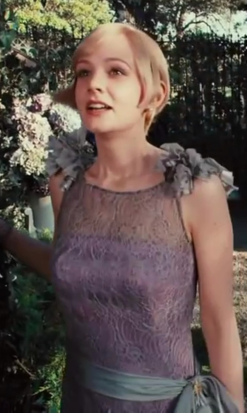 Carey Mulligan with Catherine Martin (Costume Designer) Custom Made Lavender Lace Dress (Daisy Buchanan) in The Great Gatsby