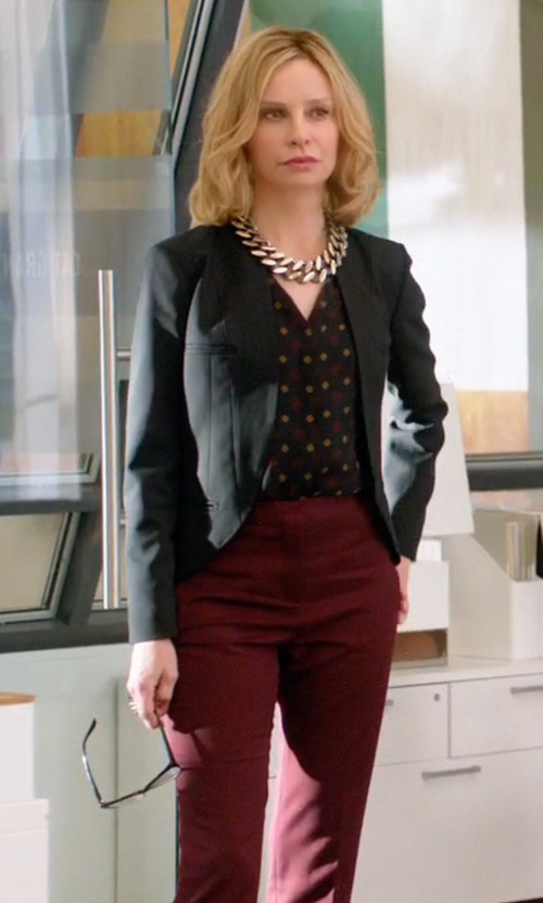 Calista Flockhart with Perret Schaad Samu Wool Georgette Trousers in Supergirl