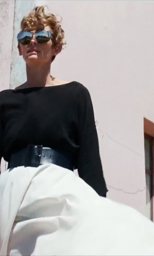 Tilda Swinton with 3.1 Phillip Lim Satin-Paneled Silk Skirt in A Bigger Splash