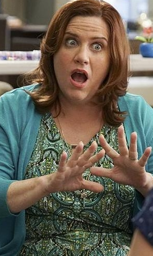 Donna Lynne Champlin with Joseph Ribkoff Paisley Zipper Top in Crazy Ex-Girlfriend
