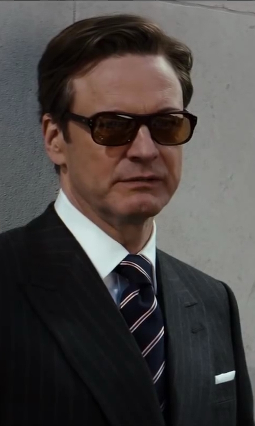 Colin Firth with Cutler And Gross Tortoiseshell Acetate Square-Frame Sunglasses in Kingsman: The Secret Service