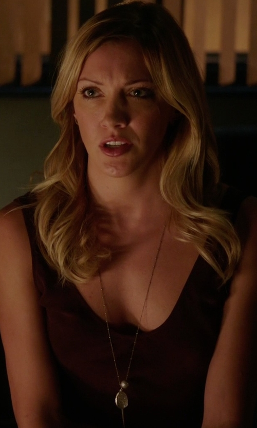 Katie Cassidy with Chan Luu Gray Pearl Charm Silver Necklace in Arrow