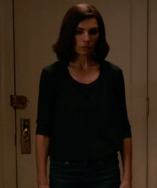 Julianna Margulies with ATM Anthony Thomas Melillo Rib-Knit T-Shirt in The Good Wife