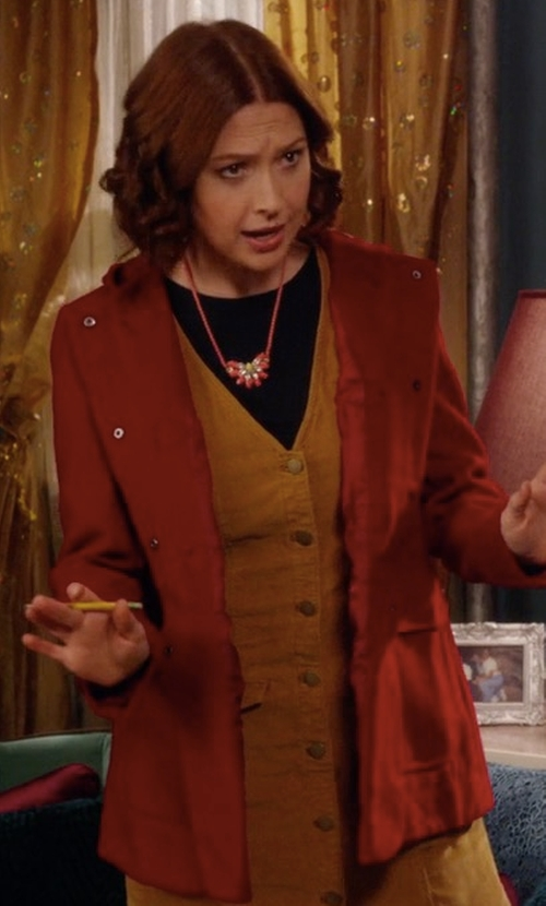 Ellie Kemper with Save The Duck Hoodied Coat in Unbreakable Kimmy Schmidt