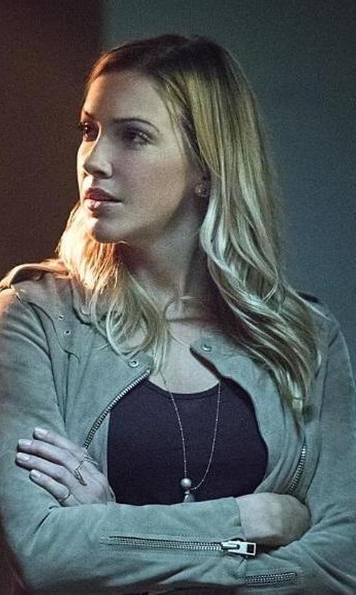Katie Cassidy with All Saints Suede Western Biker Jacket in Arrow