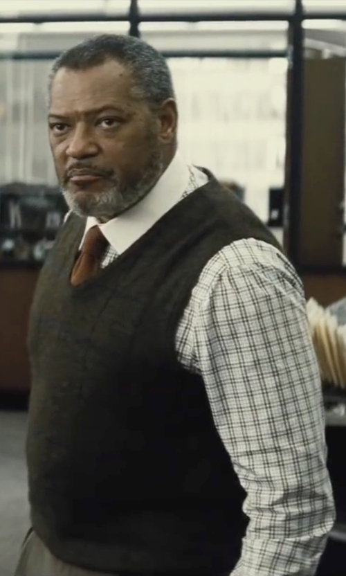 Laurence Fishburne with Saks Fifth Avenue Merino Wool Sweater Vest in Batman v Superman: Dawn of Justice