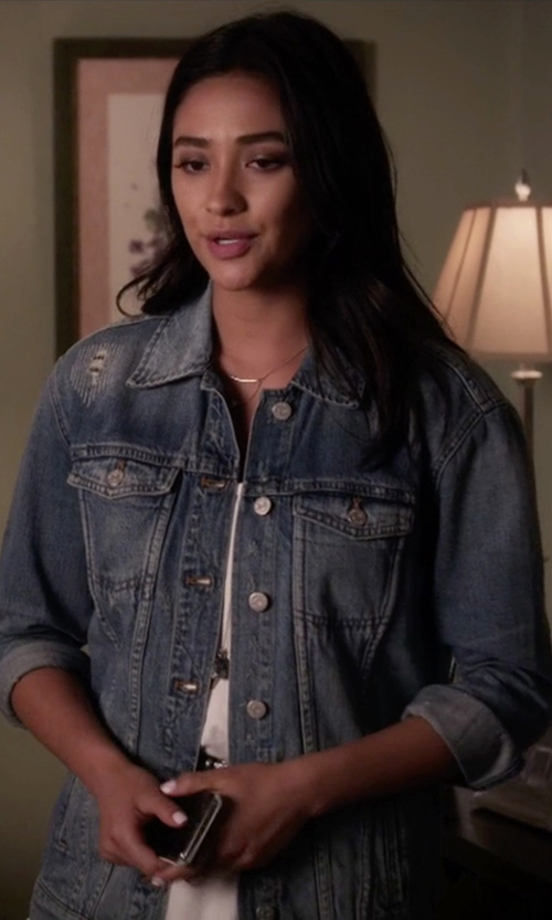 Shay Mitchell with Madewell The Oversized Jean Jacket in Pretty Little Liars