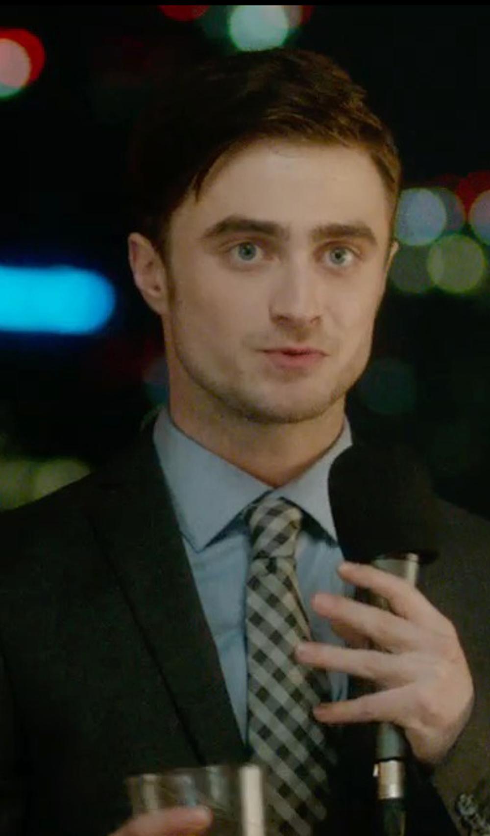 Daniel Radcliffe with Glanshirt Kent Pinstripe Shirt in What If