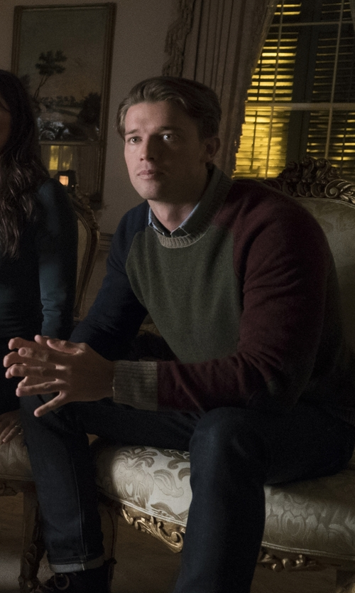 Patrick Schwarzenegger with Brooks Brothers Fun Crewneck Sweater in Scream Queens