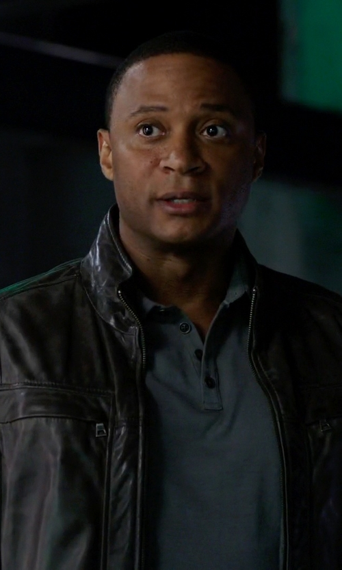 David Ramsey with Danier Grant Lamb Leather Jacket in Arrow