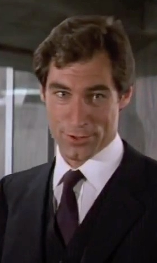 Timothy Dalton with Eton Of Sweden Diamond Formal Dress Shirt in The Living Daylights