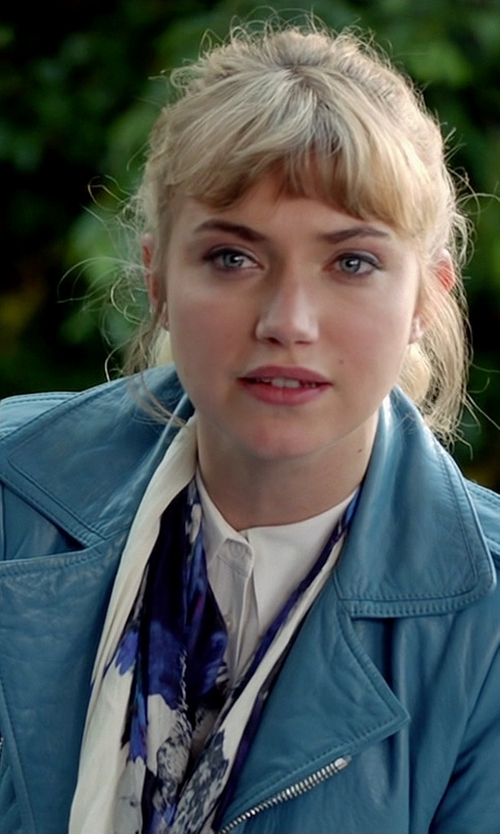 Imogen Poots with Ralph Lauren Black Label Washed Lambskin Circuit Biker Jacket in Need for Speed