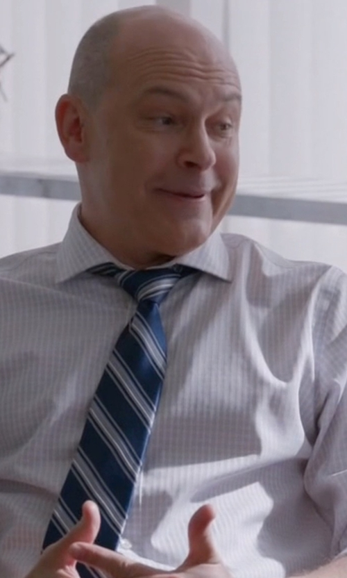 Rob Corddry with Ermenegildo Zegna Contemporary-Fit Large Box-Check Dress Shirt in Ballers