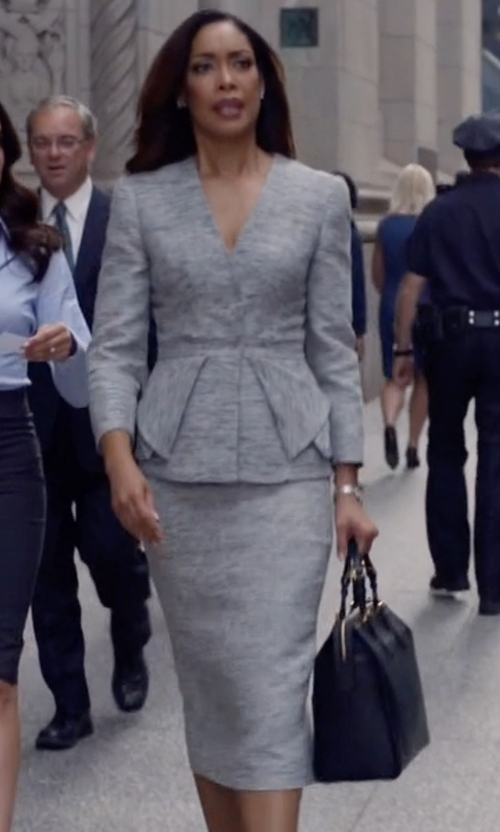 Gina Torres with Carolina Herrera Double-Face Cashmere Skirt in Suits