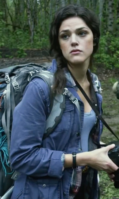 Callie Hernandez with Calvin Klein Jeans  Trucker Zip-Front Linen-Blend Utility Jacket in Blair Witch