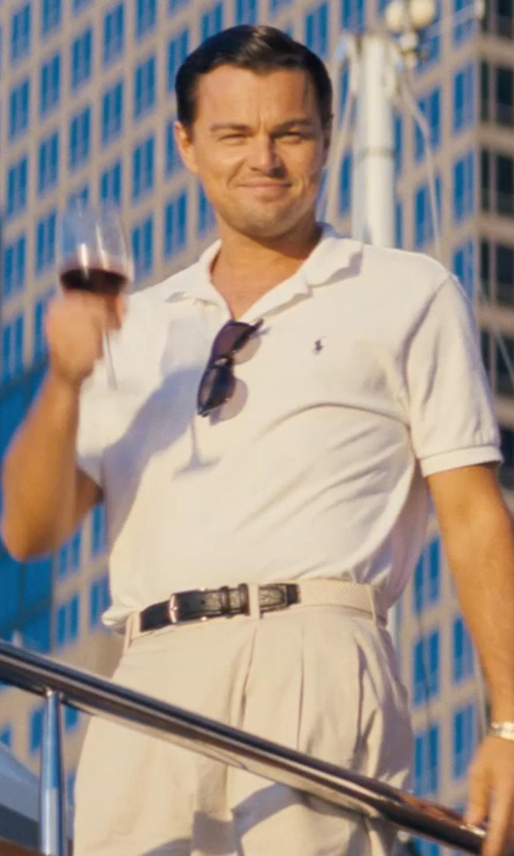 Leonardo DiCaprio with EMPORIO ARMANI straight leg chino in The Wolf of Wall Street
