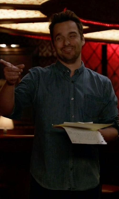 Jake Johnson with Hugo Boss Ronni Chambray Sportshirt in New Girl