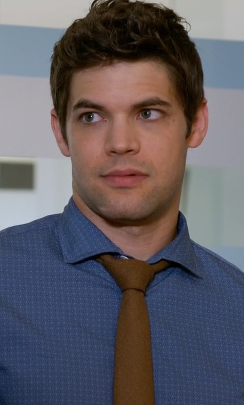 Jeremy Jordan with Forzieri Solid Pure Silk Satin Silk Tie in Supergirl