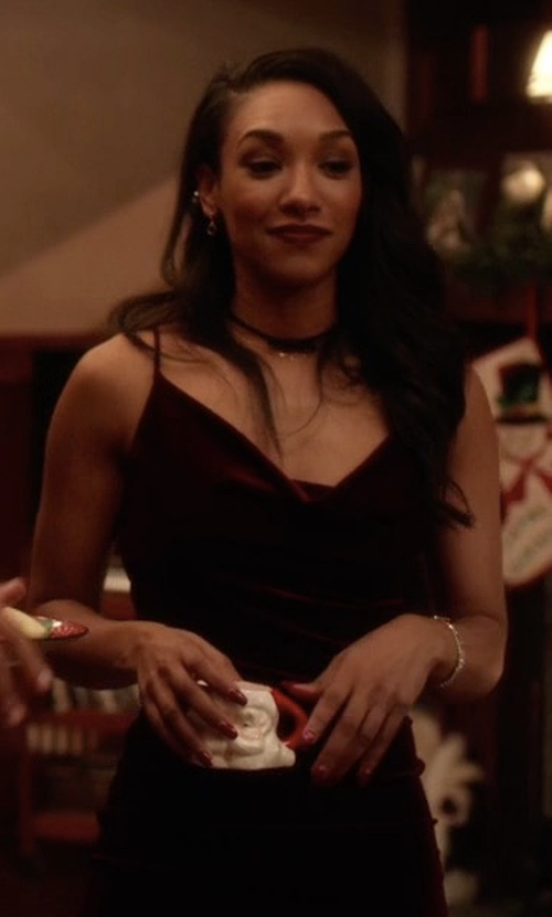 Candice Patton with Lulu's Jazzy Belle Burgundy Velvet Dress in The Flash