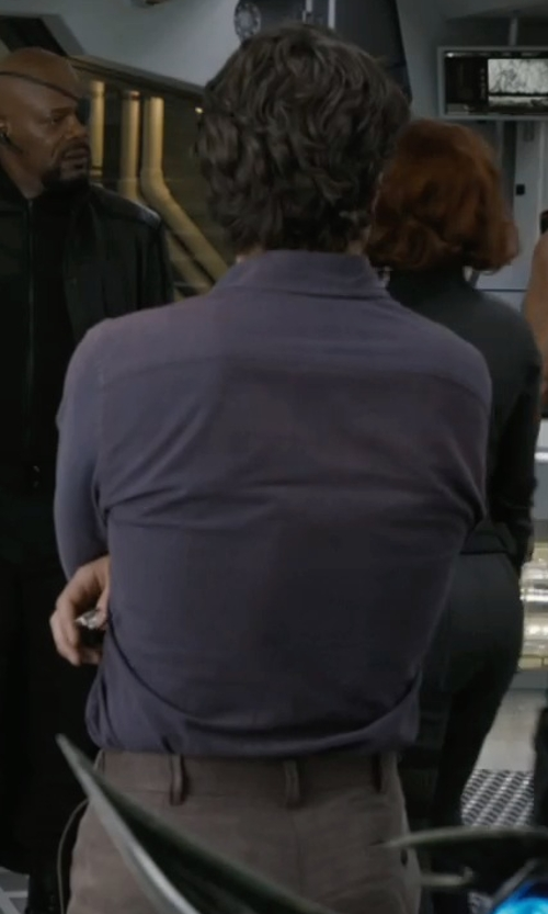 Mark Ruffalo with Alfani Slim-Fit Solid Dress Shirt in Marvel's The Avengers