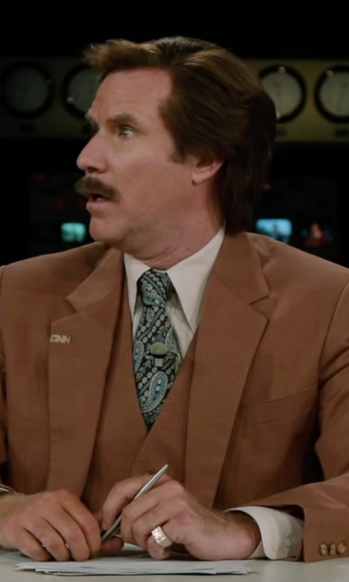Will Ferrell with Nordstrom Solid Pinpoint Cotton Trim Fit Dress Shirt in Anchorman 2: The Legend Continues