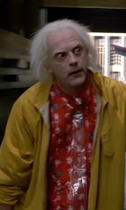 Christopher Lloyd with Paradise Found Hawaiian Aloha Rayon Vintage Shirt in Back To The Future Part II