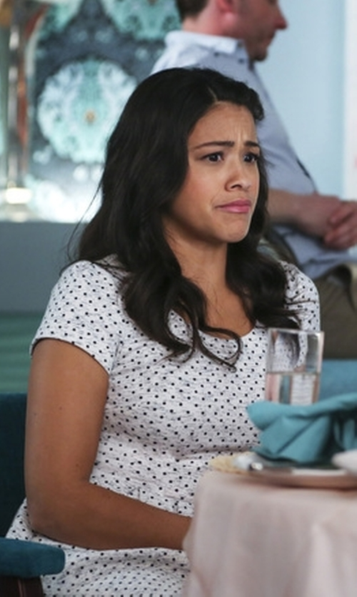 Gina Rodriguez with Maison Jules Zip-Back Polka-Dot Dress in Jane the Virgin