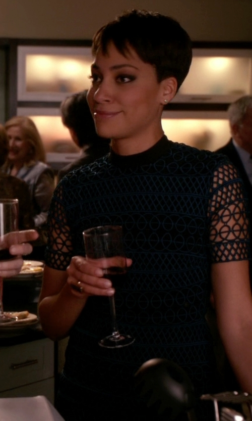 Cush Jumbo with Vince Crochet Top in The Good Wife
