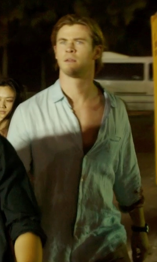 Chris Hemsworth with Levi's Made & Crafted Pocket Chambray Shirt in Blackhat