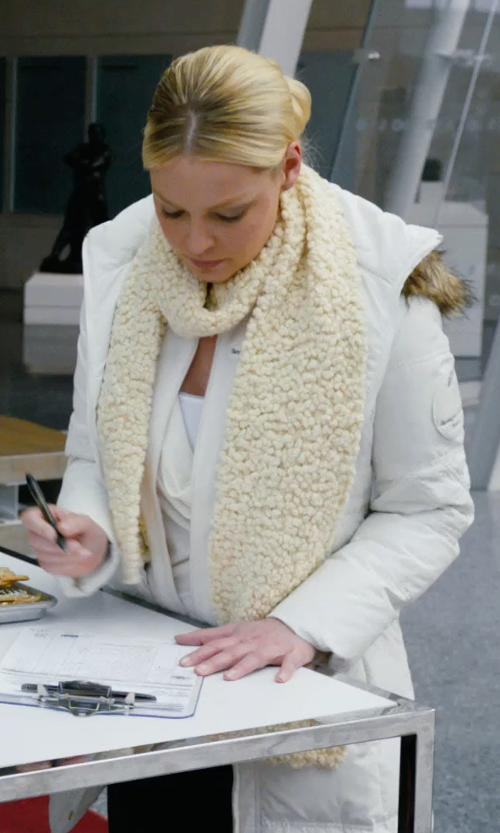 Katherine Heigl with Marc New York Hooded Faux-Fur-Trim Quilted Down Coat in New Year's Eve