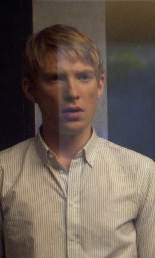 Domhnall Gleeson with Charvet Shadow Striped French-Cuff Dress Shirt in Ex Machina