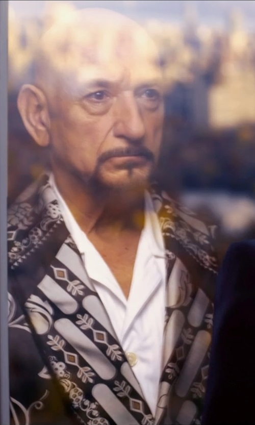 Ben Kingsley with Versace Belted Embroidered and Quilted Silk Robe in Self/Less