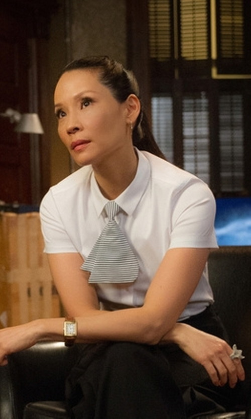Lucy Liu with ATM Short-Sleeve Cotton Blouse in Elementary
