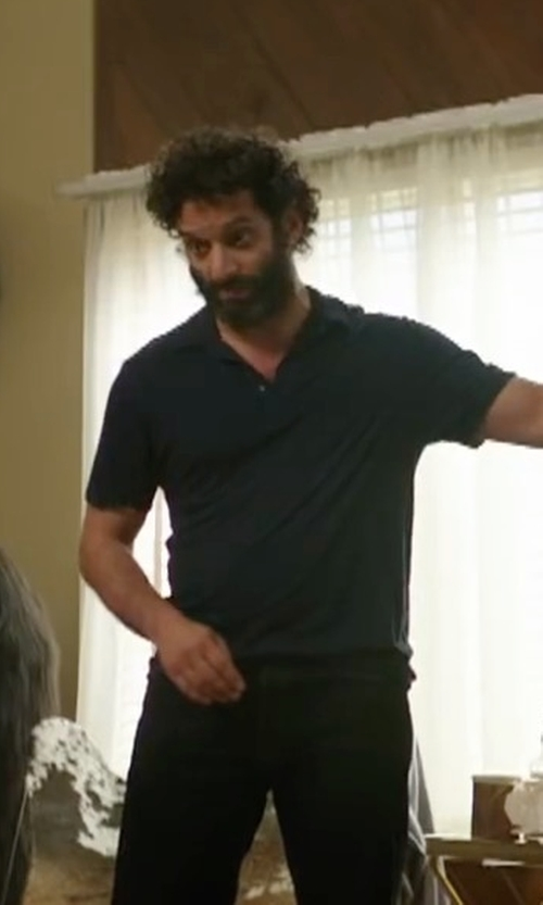Jason Mantzoukas with Fred Perry Contrast-Cuff Piqué Polo Shirt in The House