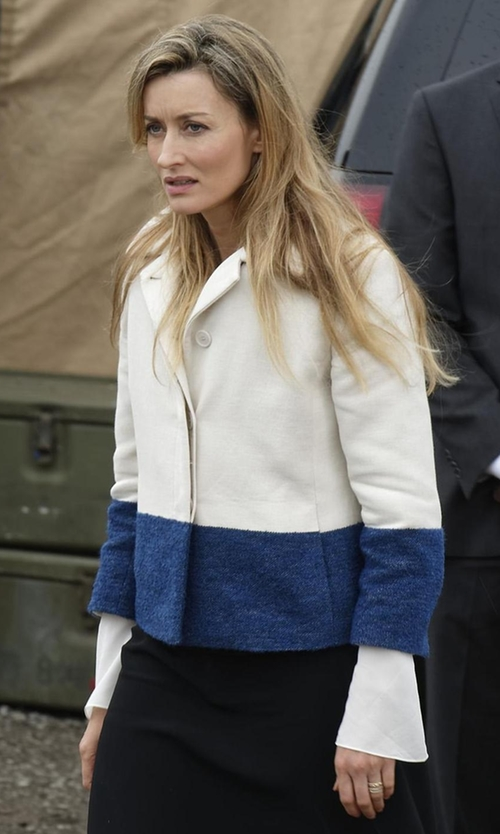 Natascha McElhone with Akris Punto Cropped Colorblock Jacket in Designated Survivor