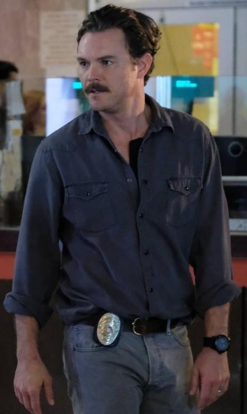 Clayne Crawford with Kuro Zoro Western Denim Shirt in Lethal Weapon