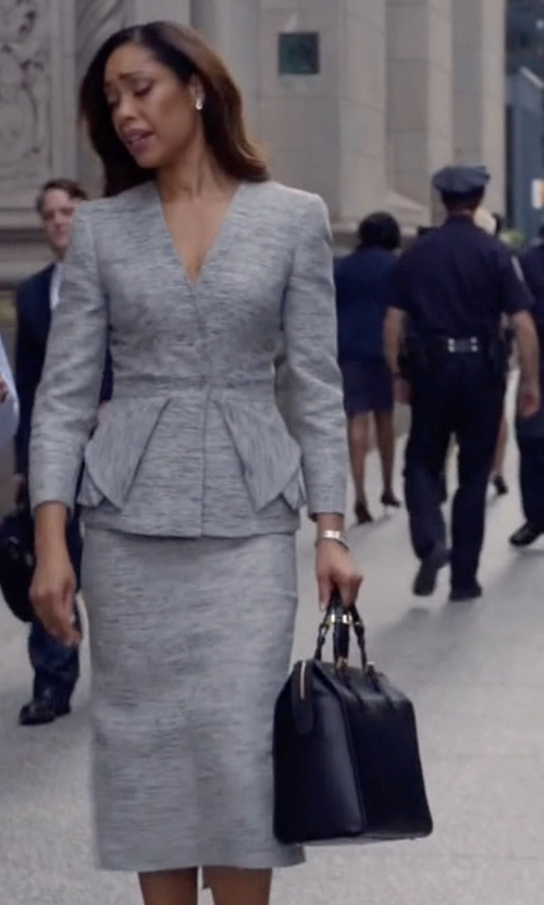 Gina Torres with Giorgio Armani Large Tote Borgonuovo Bag in Suits
