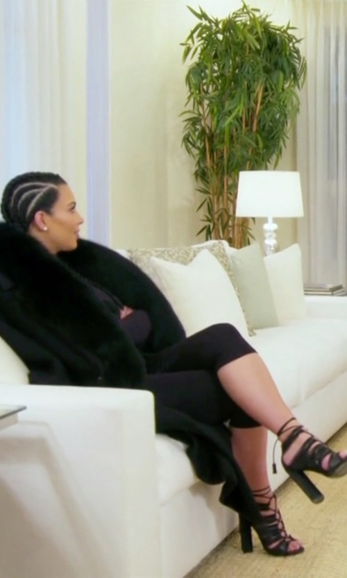 Kim Kardashian West with Tom Ford Eyelash-Fringed Lace-Up Sandals in Keeping Up With The Kardashians