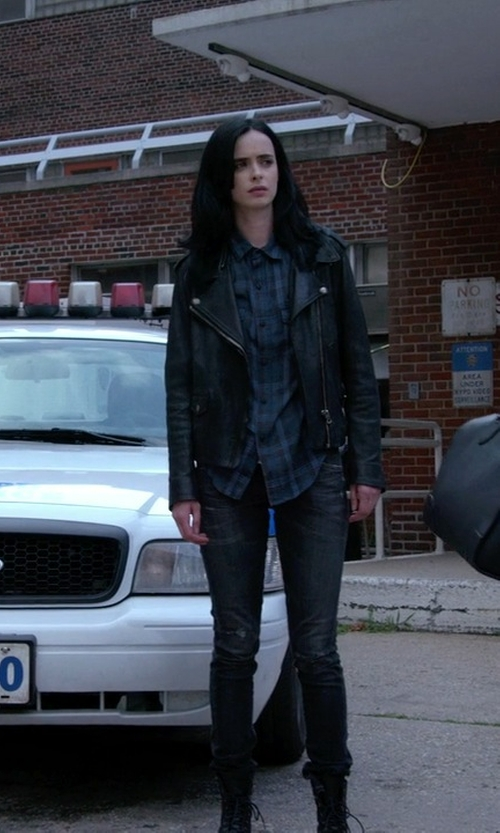 Krysten Ritter with Acne Studios Mape Leather Jacket in Jessica Jones