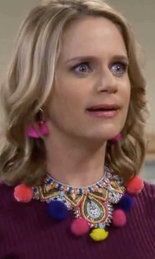 Andrea Barber with Topshop Statement Festival Pom-Pom Necklace in Fuller House