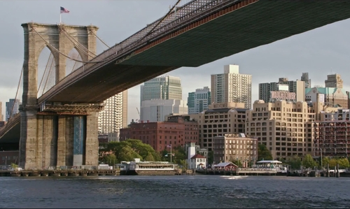 Unknown Actor with Brooklyn Bridge New York City, New York in The Intern