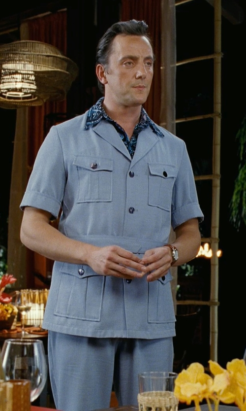 Peter Serafinowicz with 7 Diamonds Indigo Rain Short Sleeve Floral Print Woven Shirt in Couple's Retreat