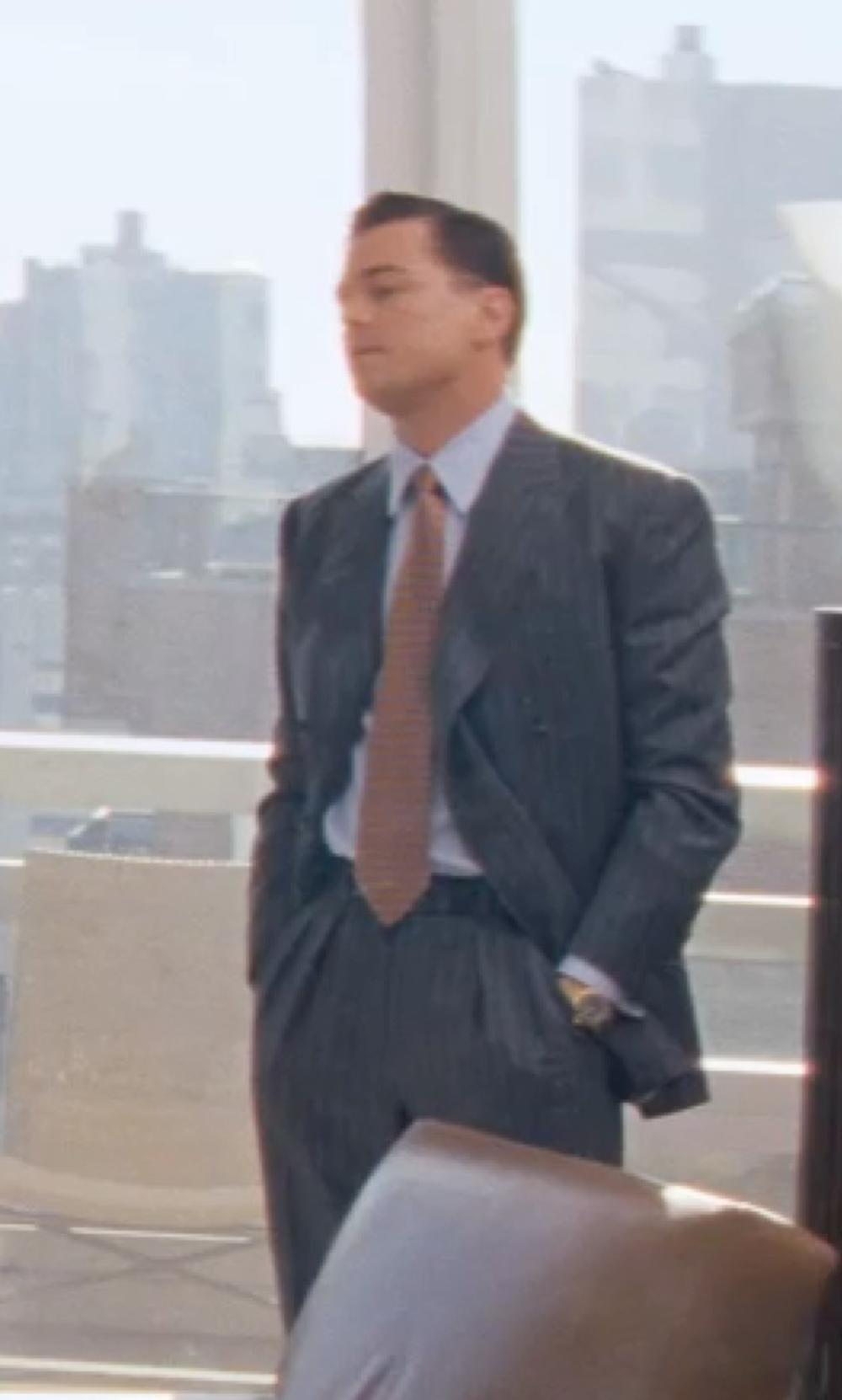 Leonardo DiCaprio with Armani Collezioni Slim Fit Check Grid Dress Shirt in The Wolf of Wall Street