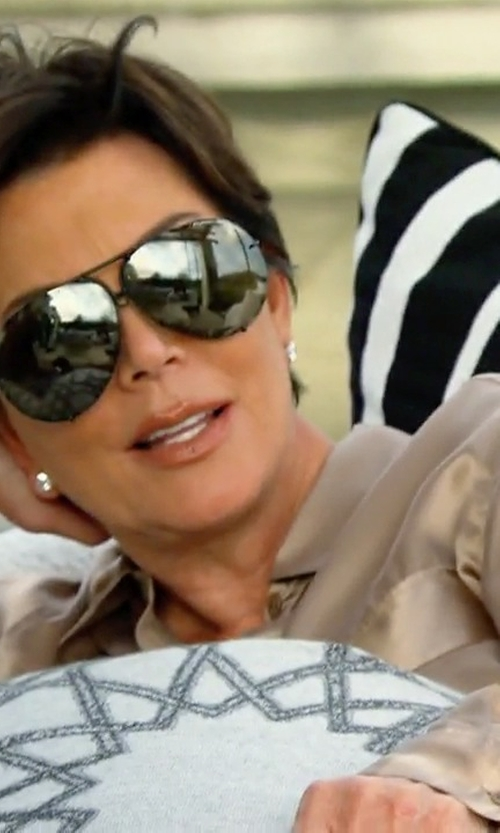 Kris Jenner with Base Range Silk Satin Shirt in Keeping Up With The Kardashians