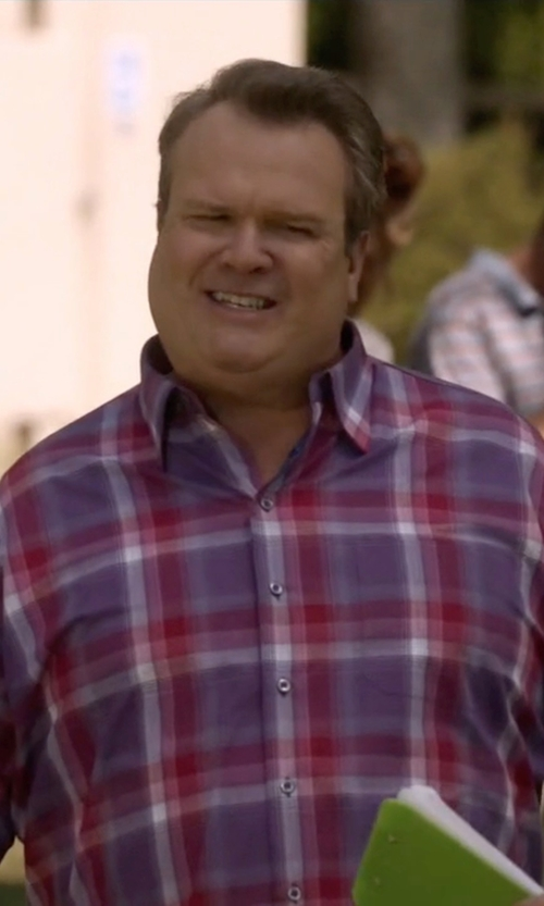 Eric Stonestreet with Brioni Tartan Plaid Long-Sleeve Sport Shirt in Modern Family