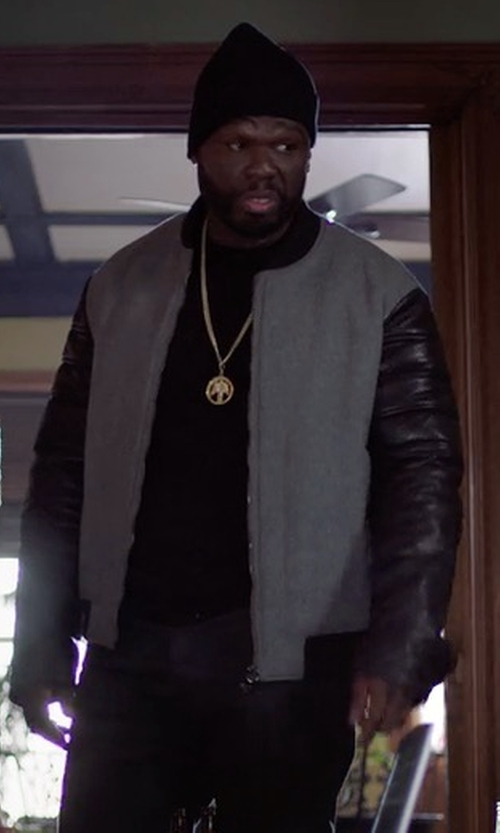 50 Cent with Futuro Faux Leather Bomber Jacket in Power